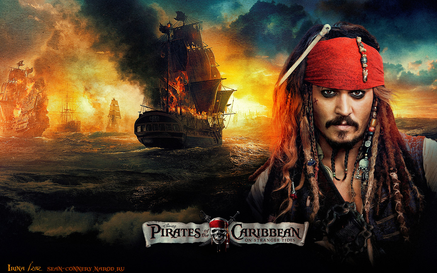 Пираты Карибского моря. На странных берегах (Pirates of the Caribbean. On Stranger Tides), Джонни Депп (Johnny Depp)  Wallpaper