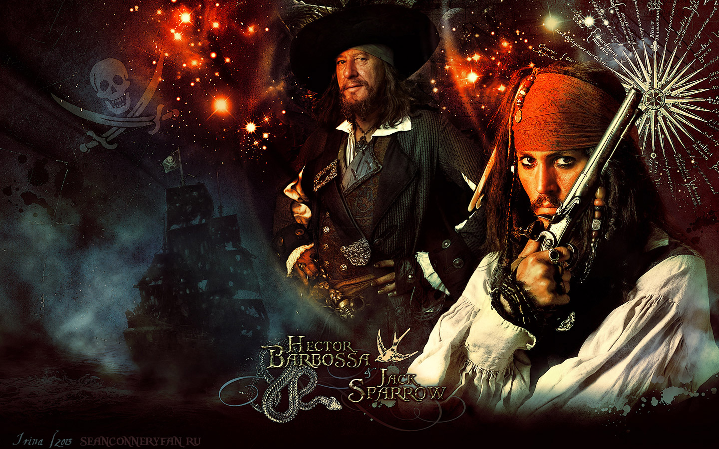 Пираты Карибского моря  (Pirates of the Caribbean), Капитан Джек Воробей, Гектор Барбосса, Jack Sparrow & Hector Barbossa, Джонни Депп (Johnny Depp)  Wallpaper